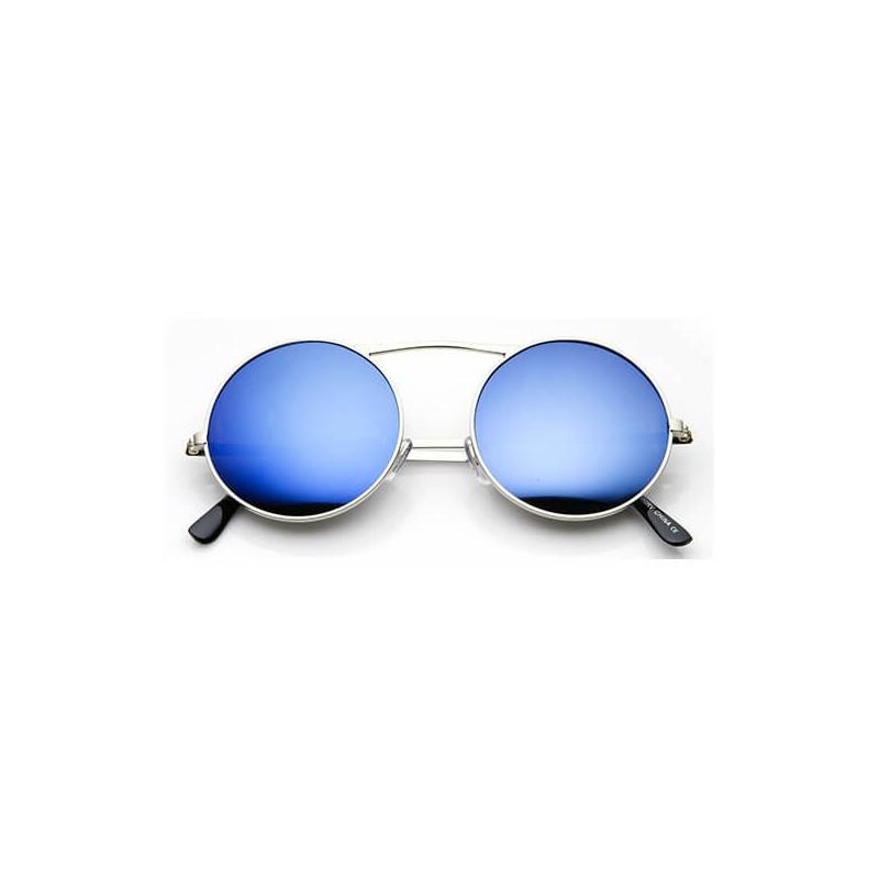 Lunette soleil verre bleu miroir argenté