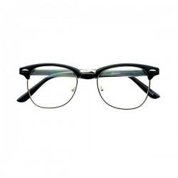 Montures lunettes de vue genre clubmaster noir et argenté