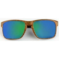 Lunettes de soleil aspect bois verres miroirs flashy bleu vert