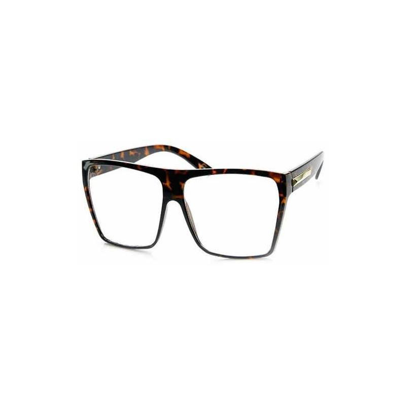 Lunettes grosse monture avec faux verres de vue léopard