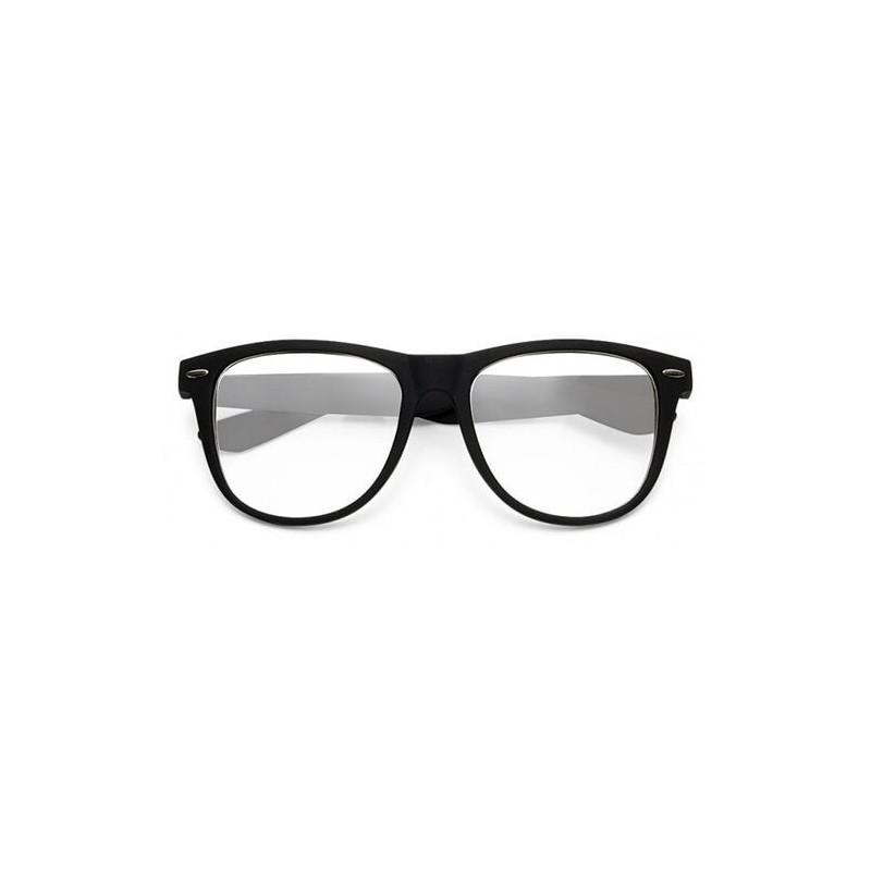 Large lunettes de vue à verres neutres noir toucher caoutchouc
