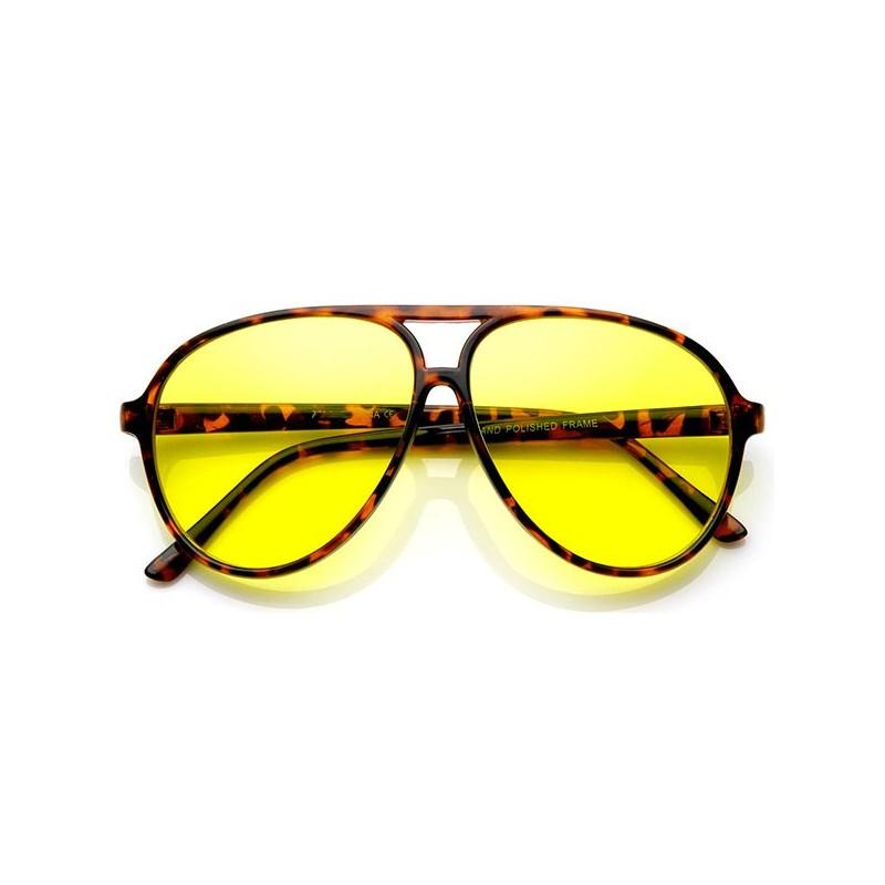 Lunettes aviateur à verre jaune écaillé
