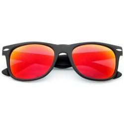 Lunettes de soleil Noir Mat à verres Effet Miroir colorés