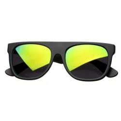 Lunettes de Soleil Noir Flat Top Verres Miroir Flash Vert