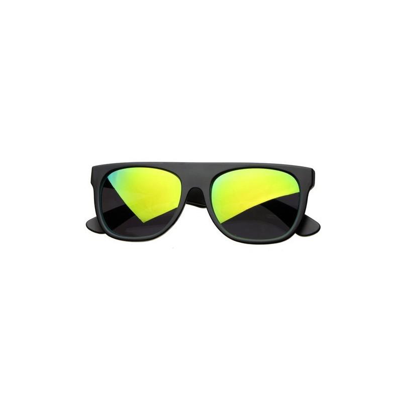 Lunettes de Soleil Noir Mate Flat Top Verres Miroir Flash Vert
