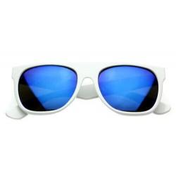 Super Lunette de Soleil Fashion Blanche Flat Top Revo Bleu