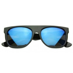 Super Lunette de Soleil Fashion Noir Flat Top Revo Bleu