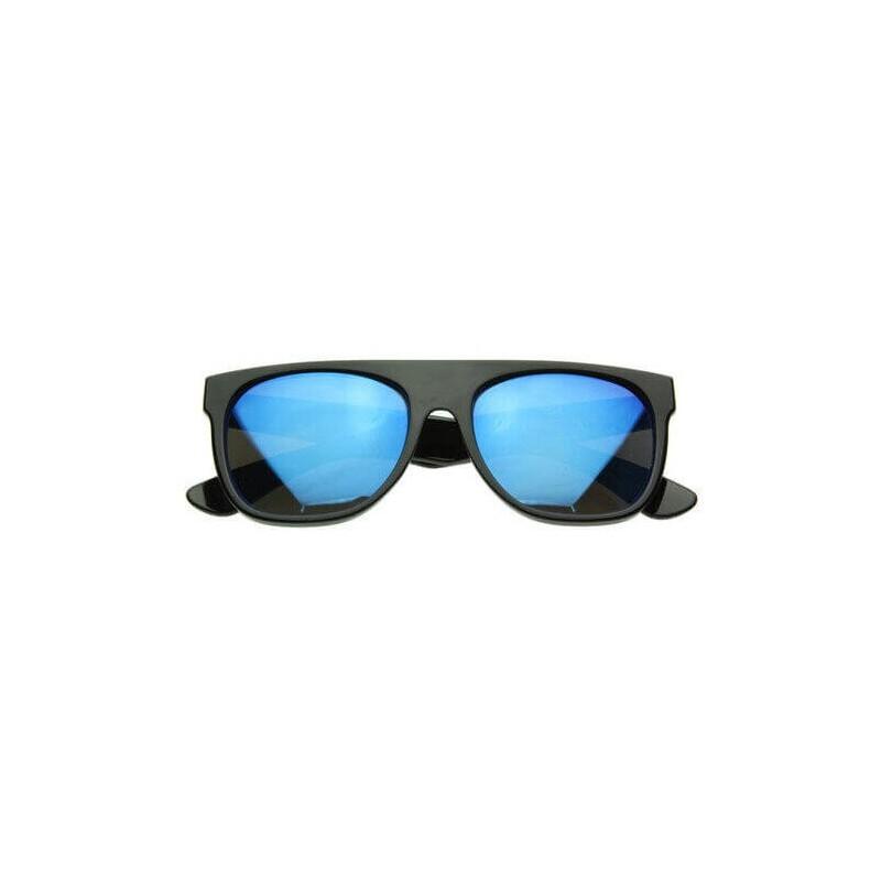 lunettes de soleil flat top flash noir et bleu
