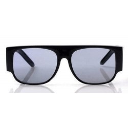 Lunette de Soleil Fashion Noir Flat Top Enveloppantes