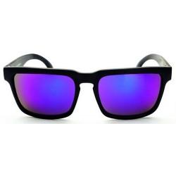Lunettes de soleil noir mat verres violet miroir flash