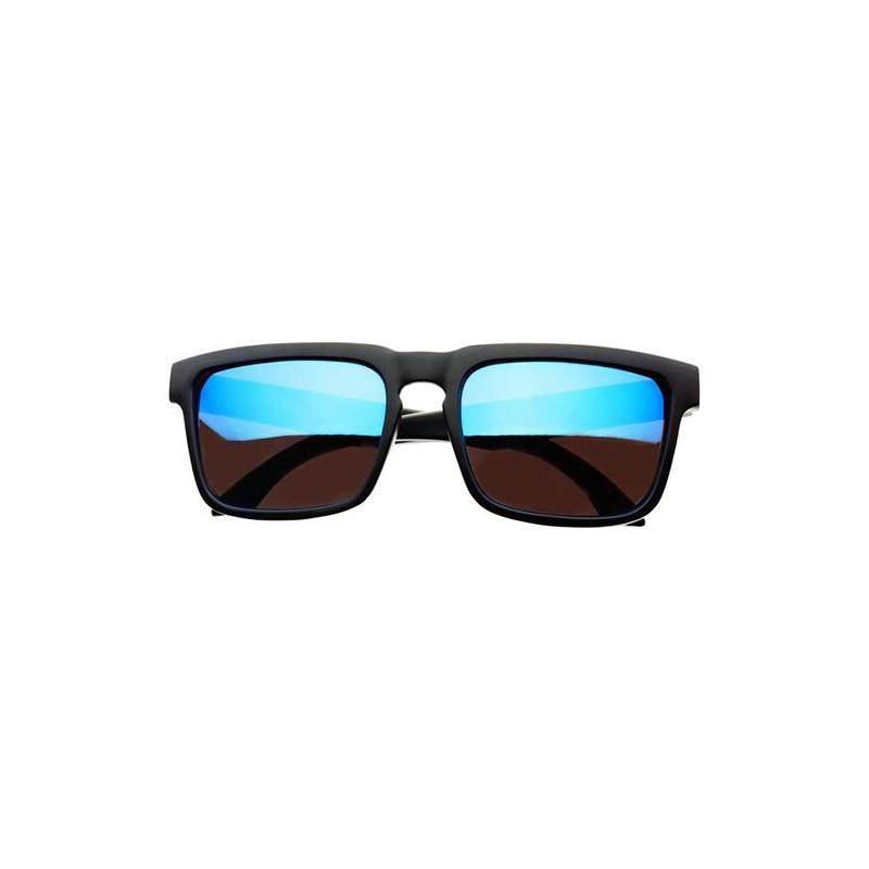 Lunettes de soleil noir mat verres bleu miroir flash