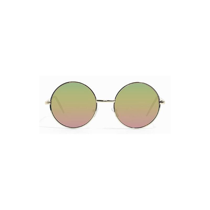 Lunettes de soleil rondes hippie métal avec verres miroir doré