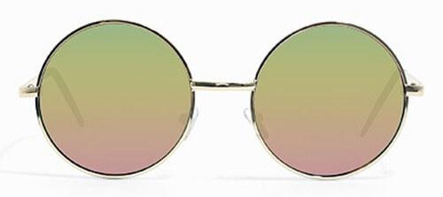 achat spécial les ventes chaudes chaussure Lunettes de Soleil Hippie en Métal Verres Miroir / Rondes